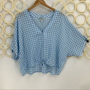 Express check button tie front Domin sleeve top